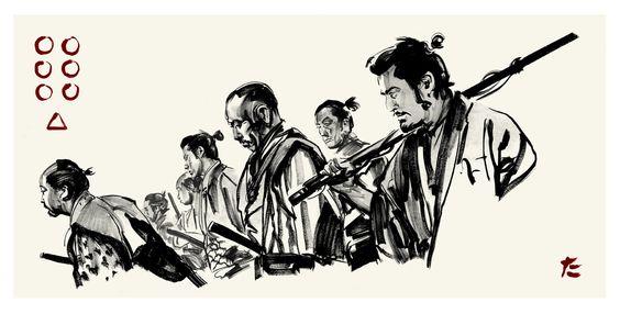 Иллюстрации к фильму «Семь самураев»
