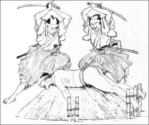 Пример тамэсигири - тестирования меча на трупах